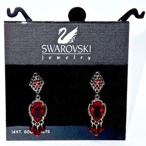SWAROVSKI~art deco~RUBY RED CRYSTAL DROP EARRINGS
